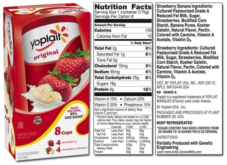 Yoplait Product List with Yoplait Light Yogurt Nutrition Label